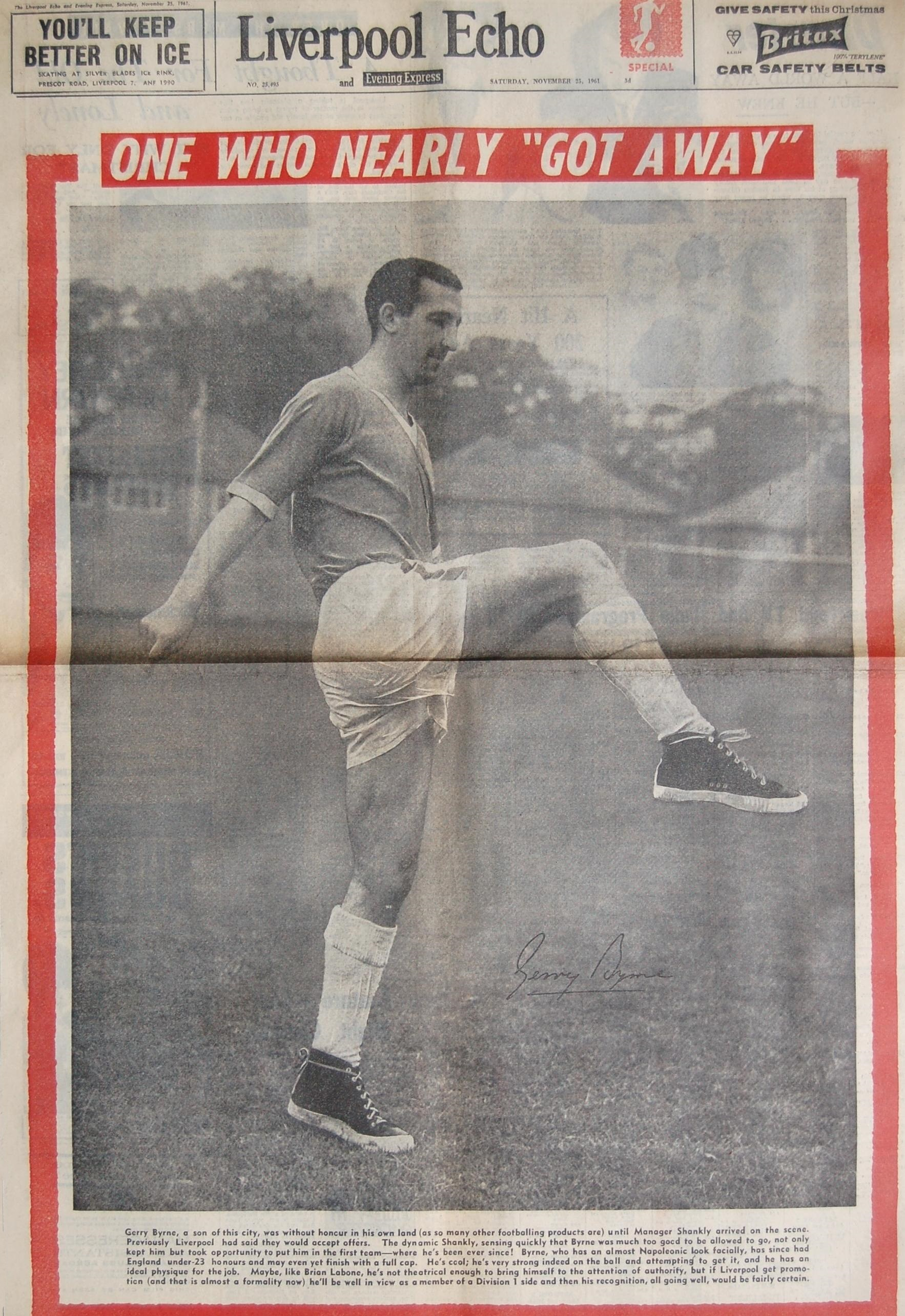 Gerry Byrne on the cover of the Liverpool Echo on 23 November 1961