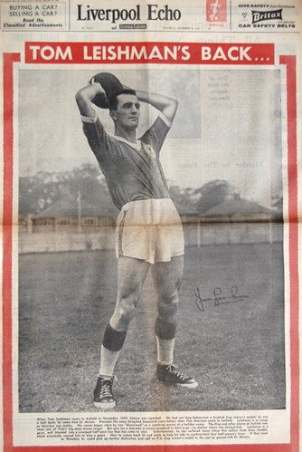 Tommy Leishman on the cover of the Liverpool Echo on 16 December 1961
