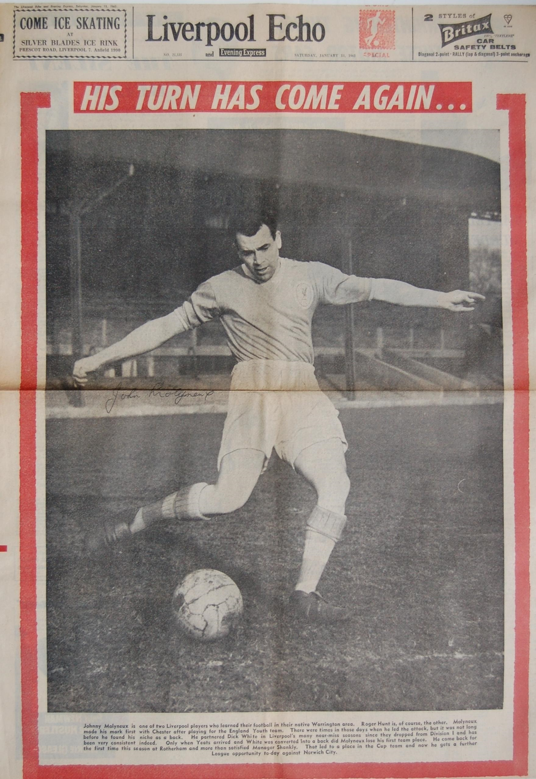 Molyneux on the front page of the Echo on 13 January 1962