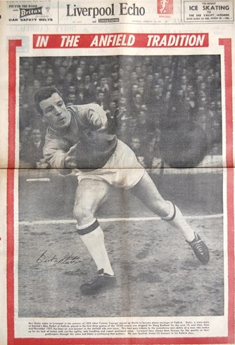 Slater on the cover of the Liverpool Echo on 24 February 1962