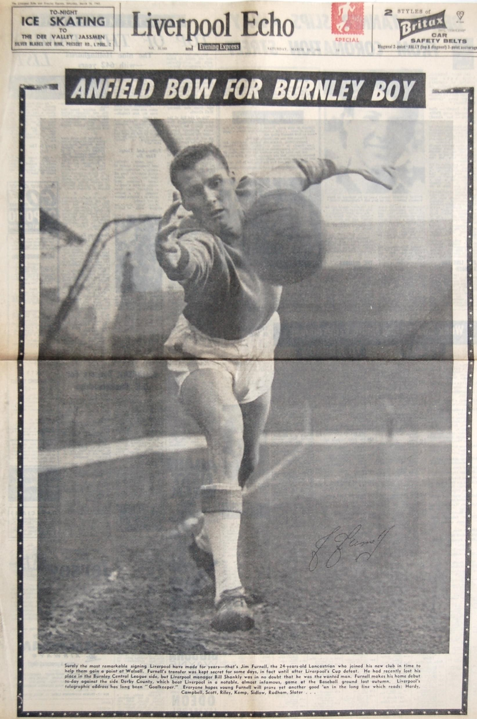 Furnell on the cover of the Liverpool Echo on 10 March 1962