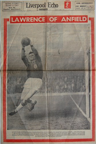 Profile of Lawrence of Anfield on the cover of the Echo 13 April 1963