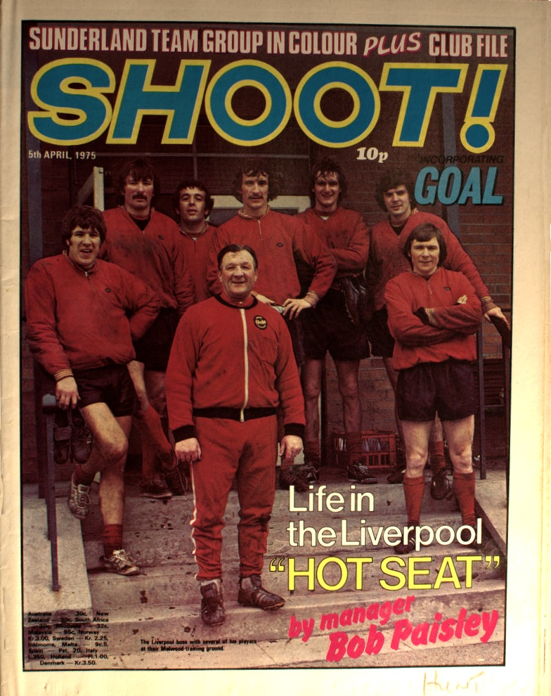 Paisley with his troops at Melwood on the cover of Shoot! on 5 April 1975