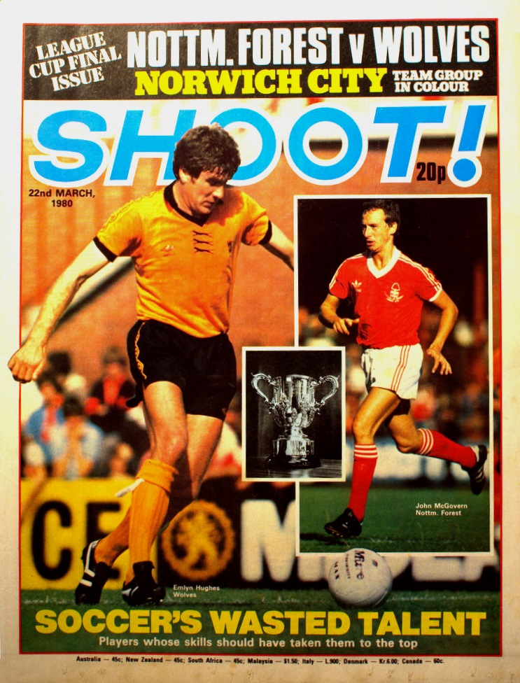 Emlyn Hughes on the cover of Shoot! as a Wolves player