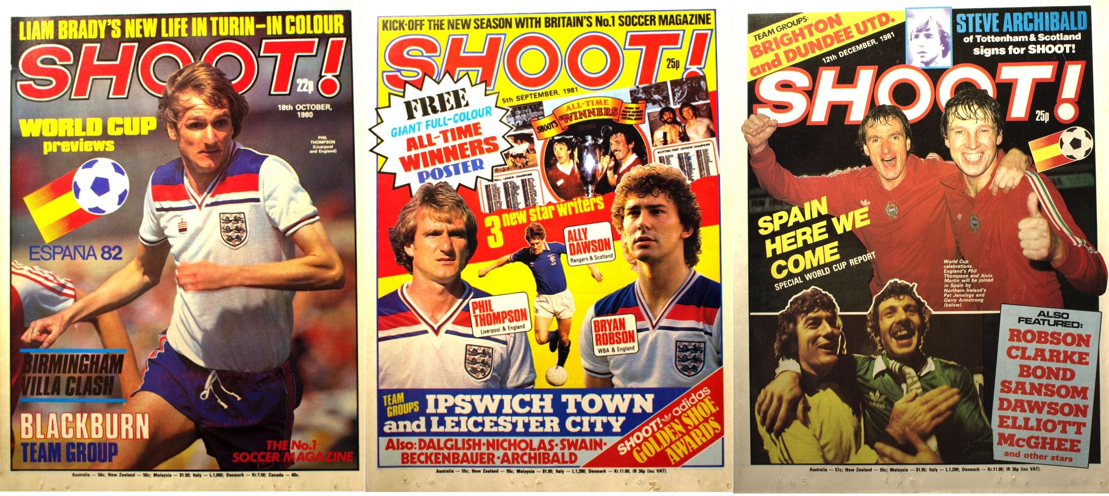 Phil Thompson on the cover of Shoot! as an England player