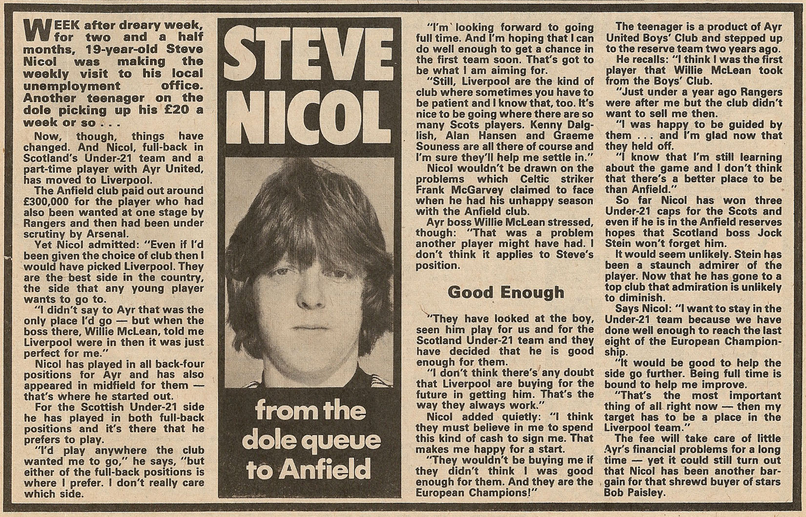 From the dole queue to Anfield - 28 November 1981