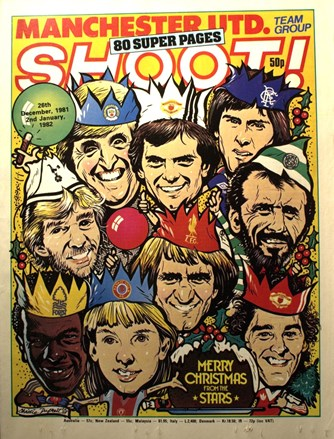 Merry Christmas from the stars on the cover of Shoot! 1981