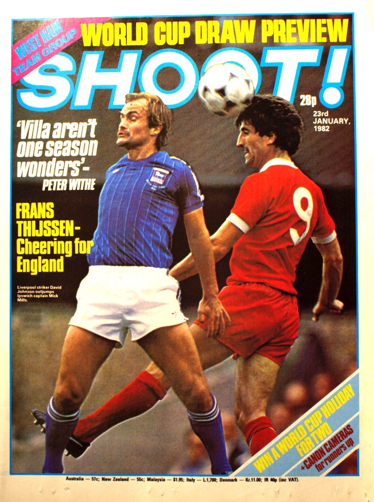 David Johnson on the cover of Shoot! 23 January 1982