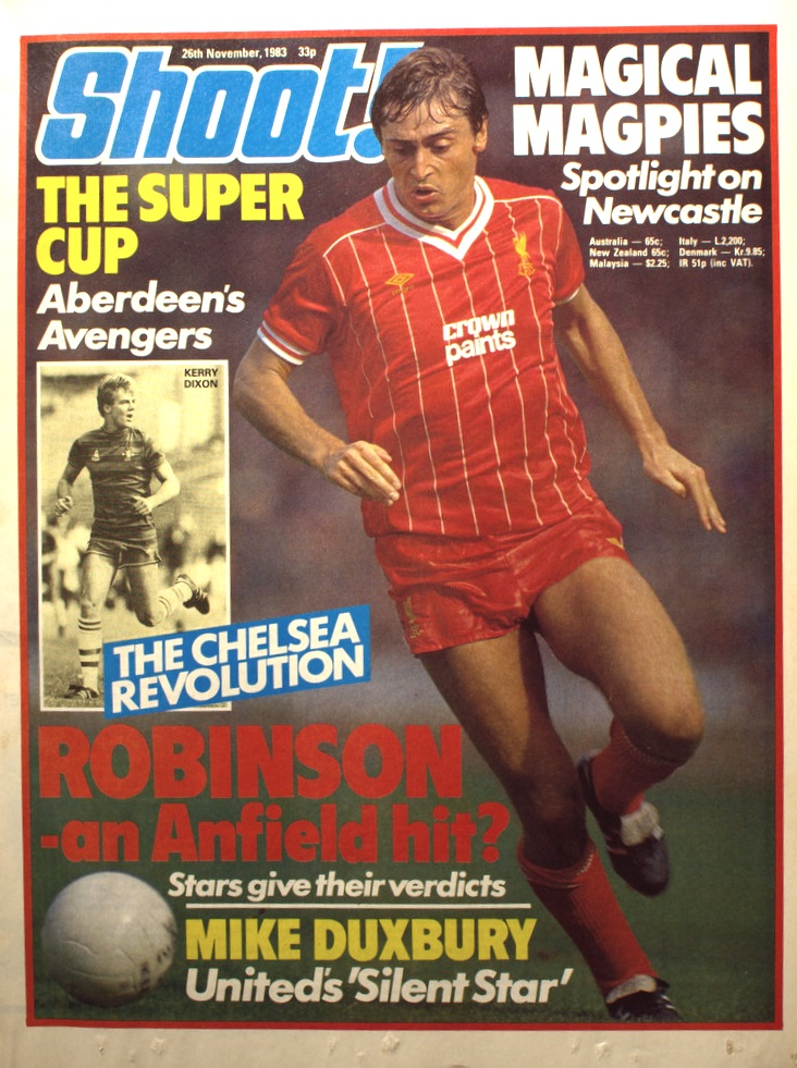 Robinson on the cover of Shoot! 26 November 1983