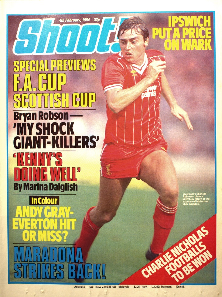 Robinson on the cover of Shoot! 4 February 1984