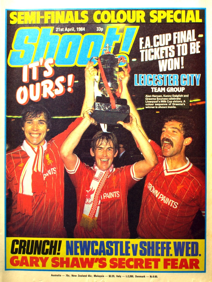 The Three Scots celebrating on the cover of Shoot! on 21 April 1984