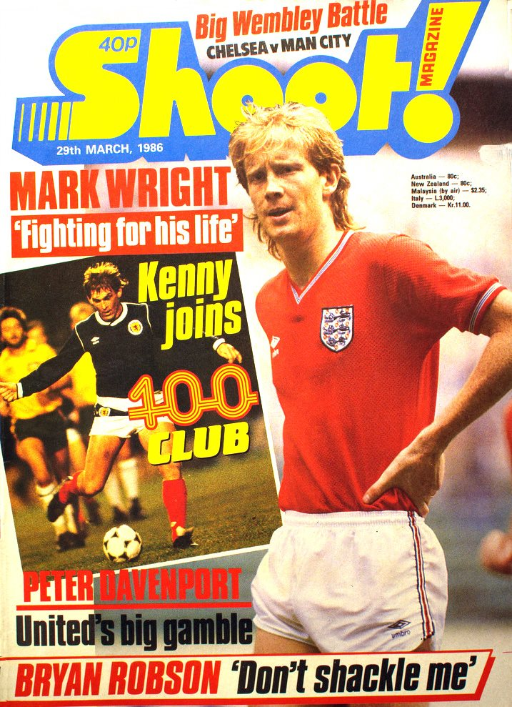 England's Mark Wright on the cover of Shoot! 29 March 1986