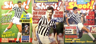 Ian Rush on the cover of Shoot! in Juventus outfit