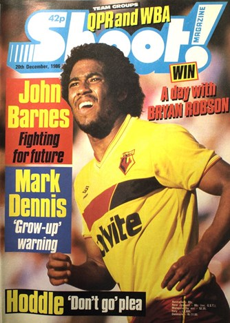 John Barnes on the cover of Shoot! as a Watford star 20 December 1986