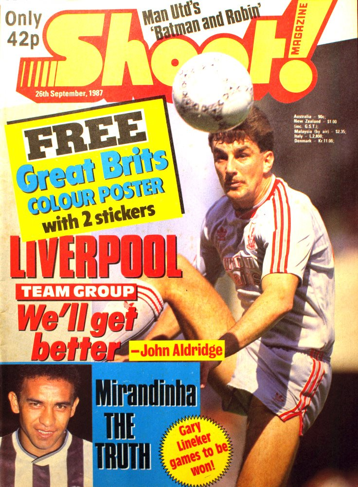 John Aldridge on the cover of Shoot 26 September 1987