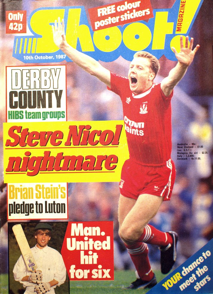 Steve Nicol on the cover of Shoot 10 October 1987
