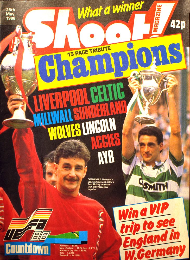 Aldridge and his fellow league champions celebrated on the cover of Shoot! 28 May 1988