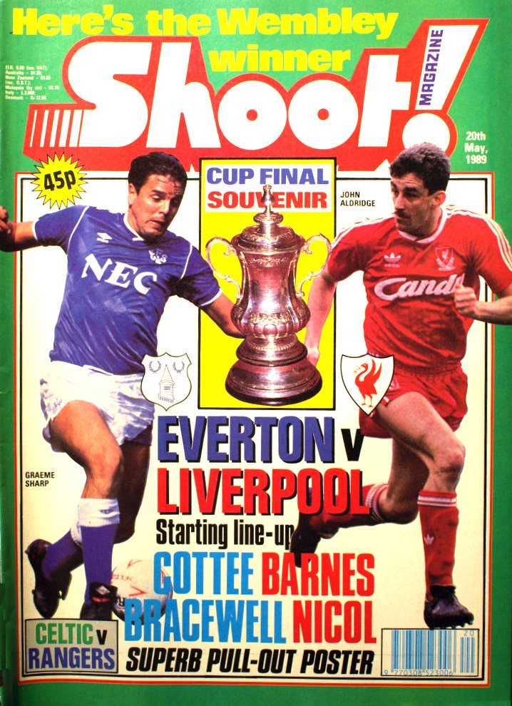 Everton and Liverpool head for Wembley - John Aldridge on the cover of Shoot! 20 May 1989