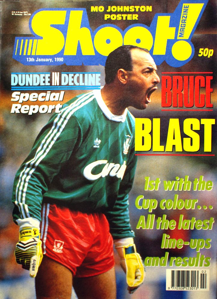 Bruce Grobbelaar on the cover of Shoot! 13 January 1990