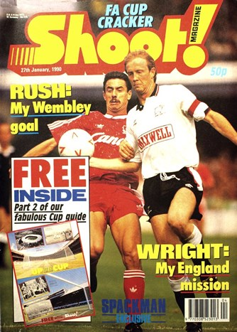 Derby's Mark Wright on the cover of Shoot! 27 January 1990