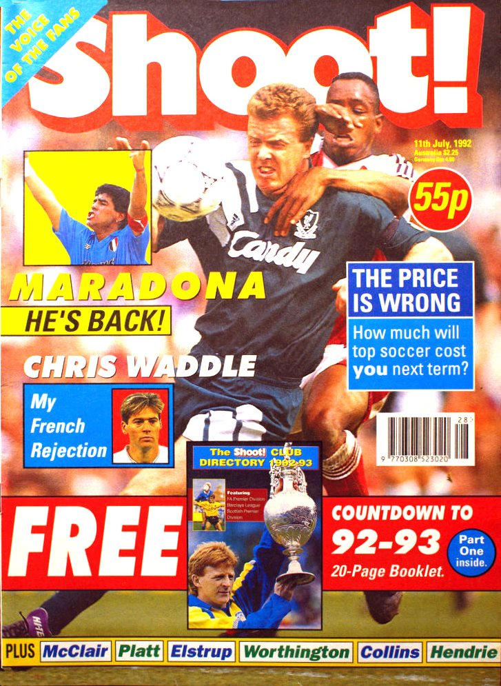 Steve Nicol on the cover of Shoot! 11 July 1992