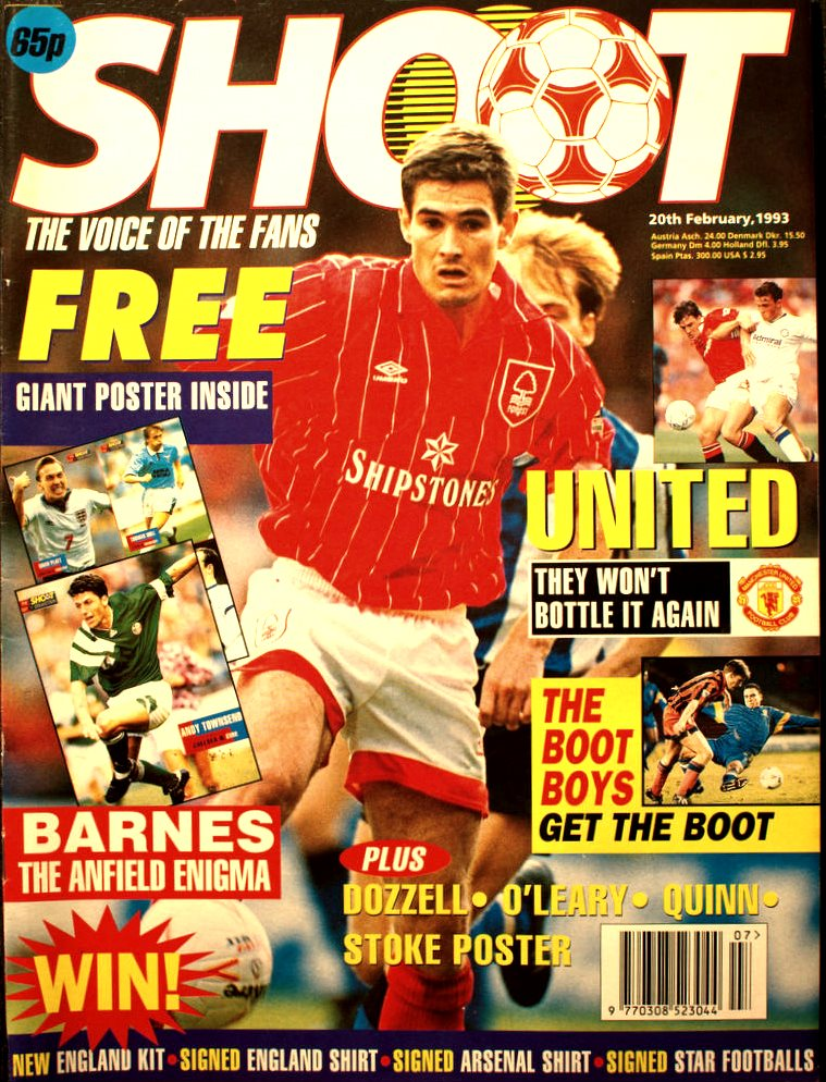 Nigel Clough on the cover of Shoot! 20 February 1993