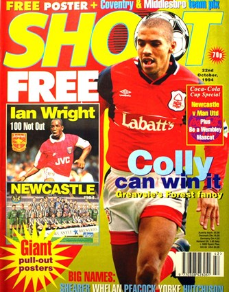 Forest's Stan Collymore on the cover of Shoot! 22 October 1994
