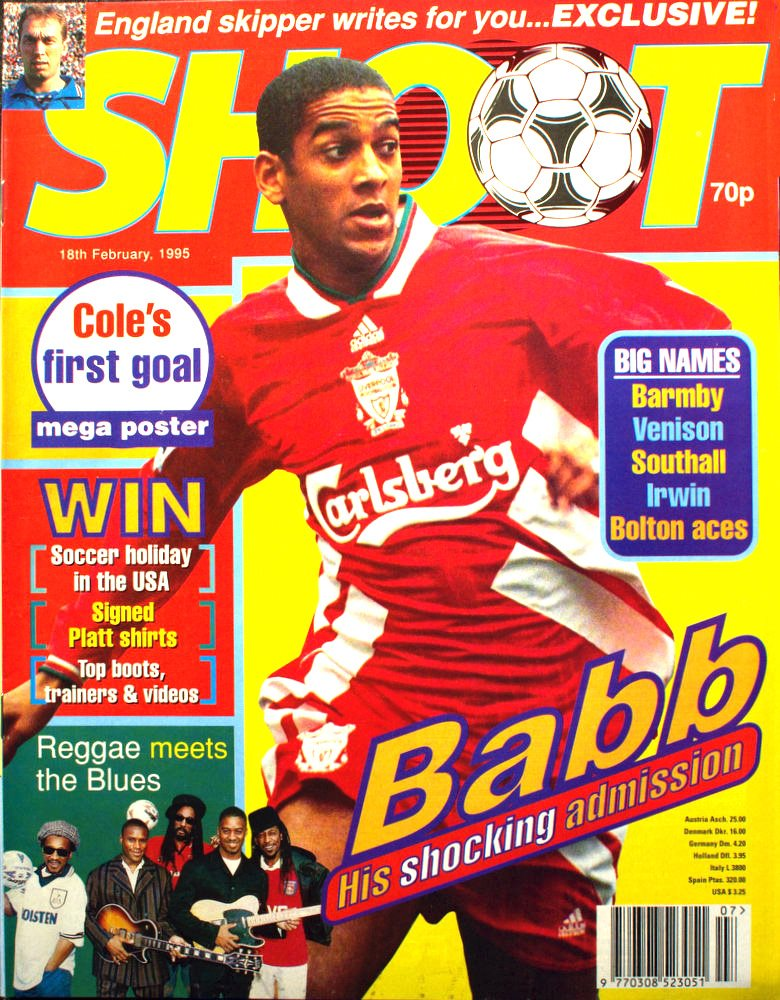 Phil Babb on the cover of Shoot! 18 February 1995