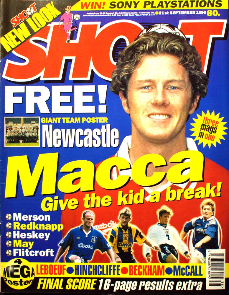 Steve McManaman on the cover of Shoot! 21 September 1996