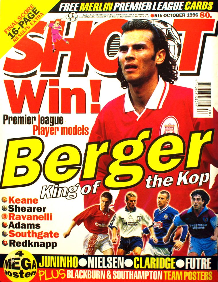 Patrik Berger on the cover of Shoot! 5 October 1996
