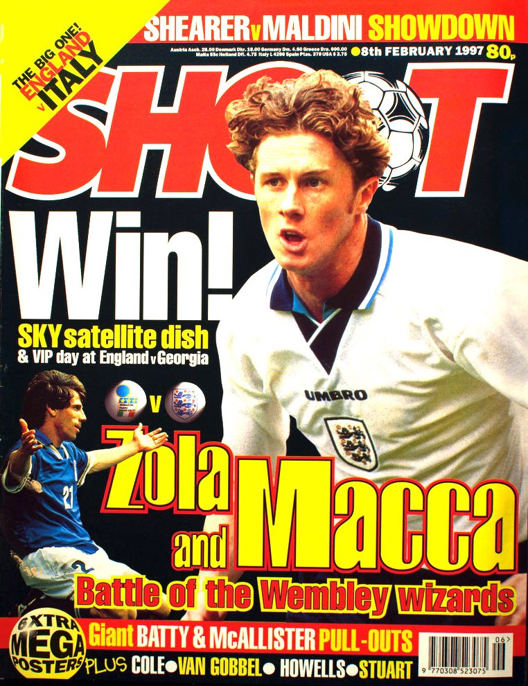 England's Steve McManaman on the cover of Shoot! 8 February 1997