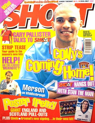 Villa's Stan Collymore on the cover of Shoot! 26 July 1997