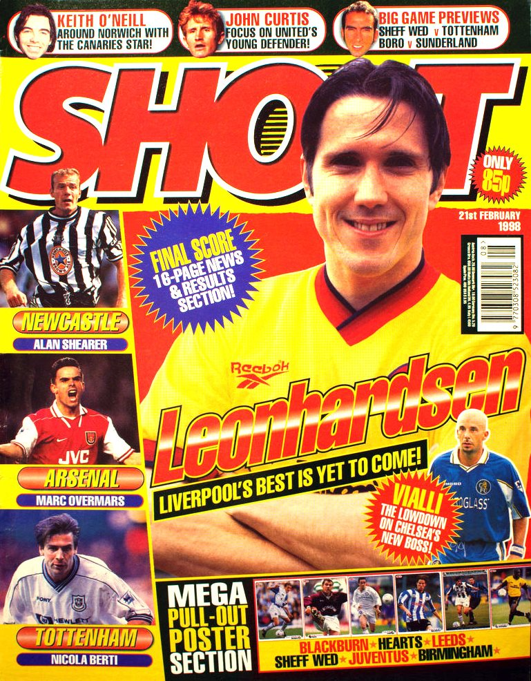 Øyvind Leonhardsen on the cover of Shoot! 21 February 1998