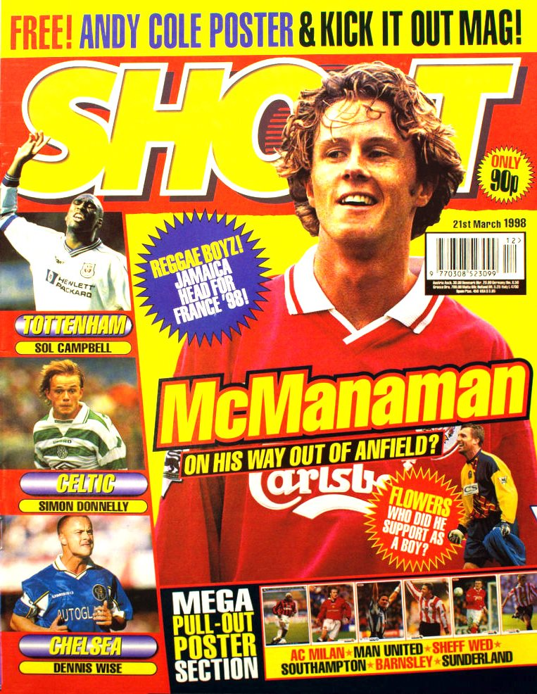 Steve McManaman on the cover of Shoot! 21 March 1998