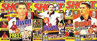 Michael Owen on the cover of Shoot! as an England player