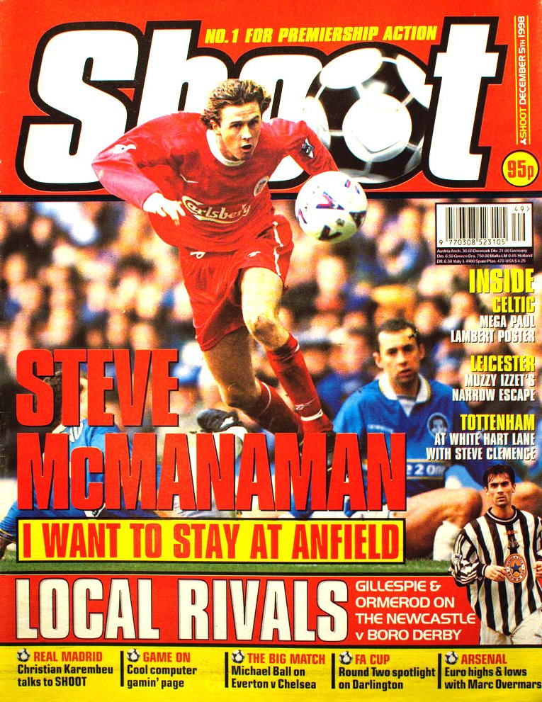 Steve McManaman on the cover of Shoot! 5 December 1998