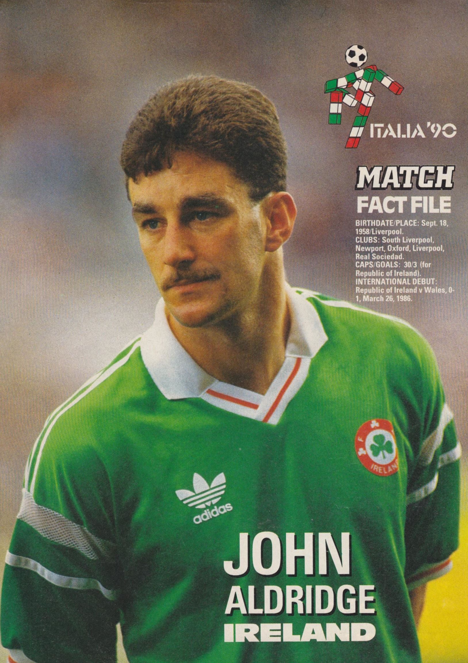 Match file of Ireland's Aldridge - World Cup 1990