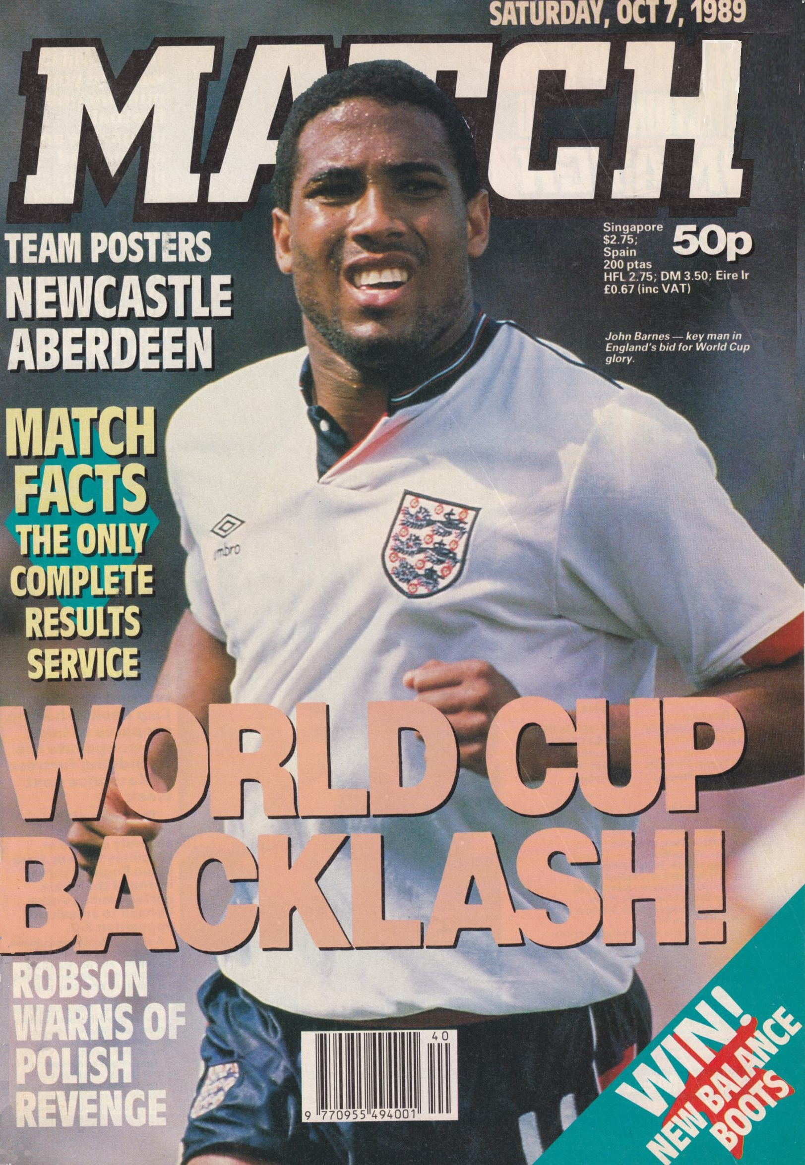 Match cover of England's Barnes on 7 October 1989