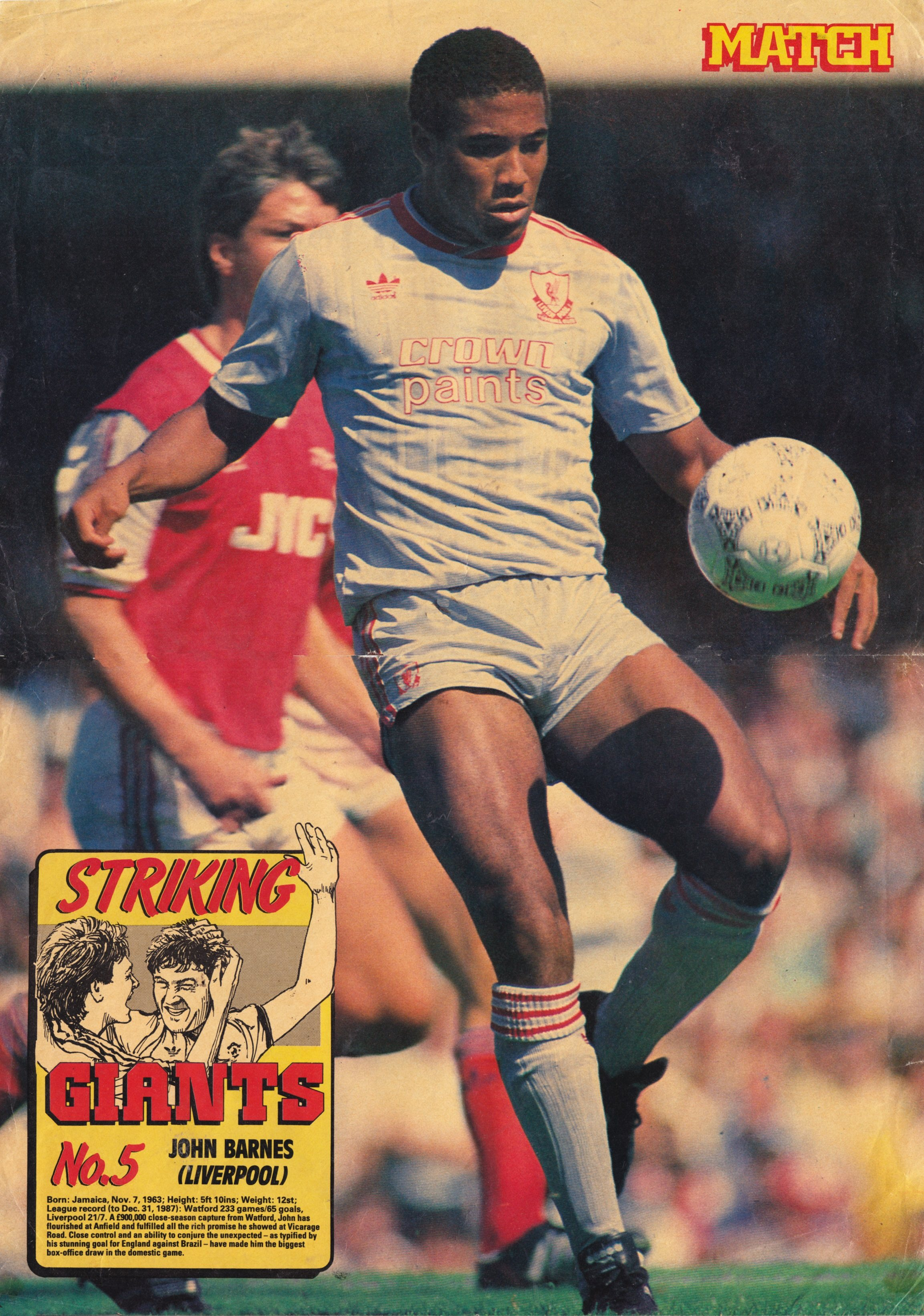A big Match poster of John Barnes 1988