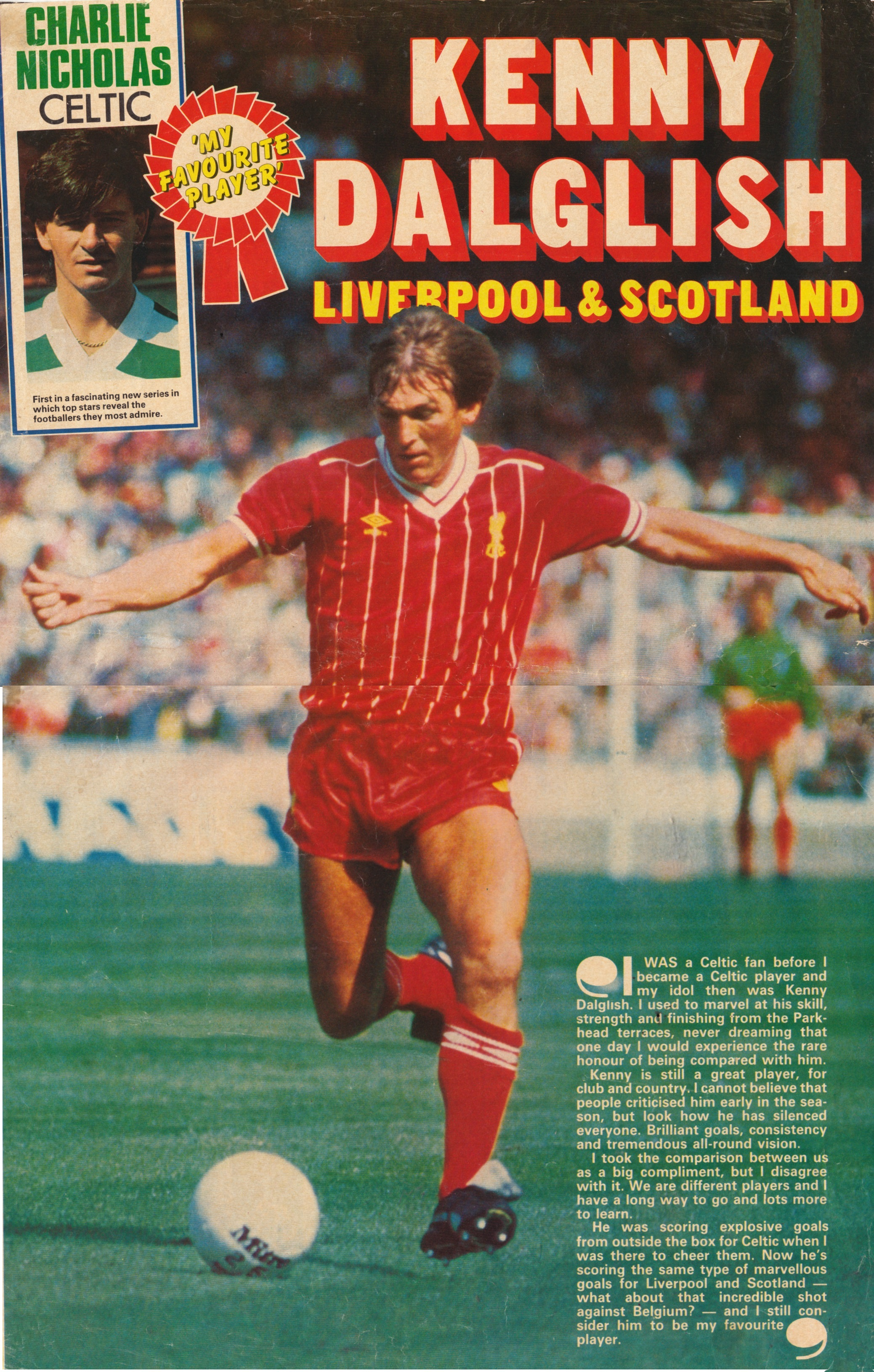 A big poster of Dalglish from Shoot 1983