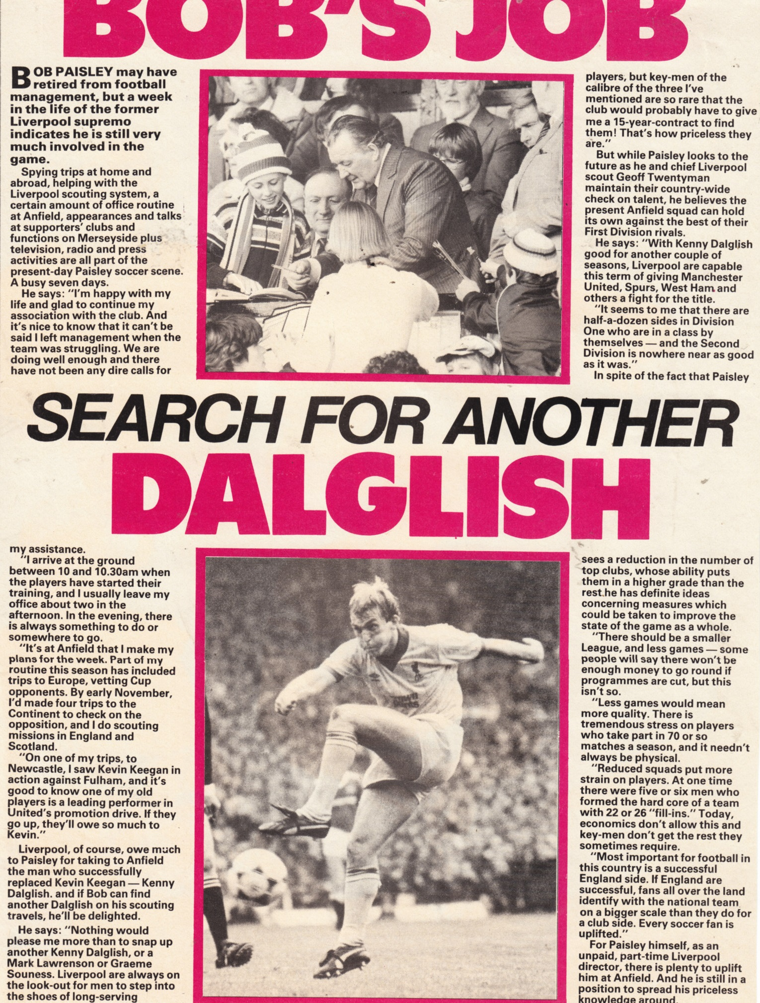 Bob's job to search for another Dalglish - 1983