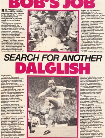 Bob's job to search for another Dalglish
