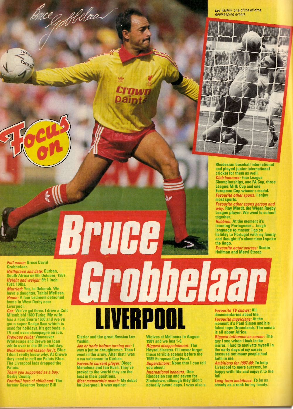 Focus on Bruce Grobbelaar