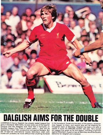 Dalglish aims for the double - a poster prior to the 1978 League Cup final