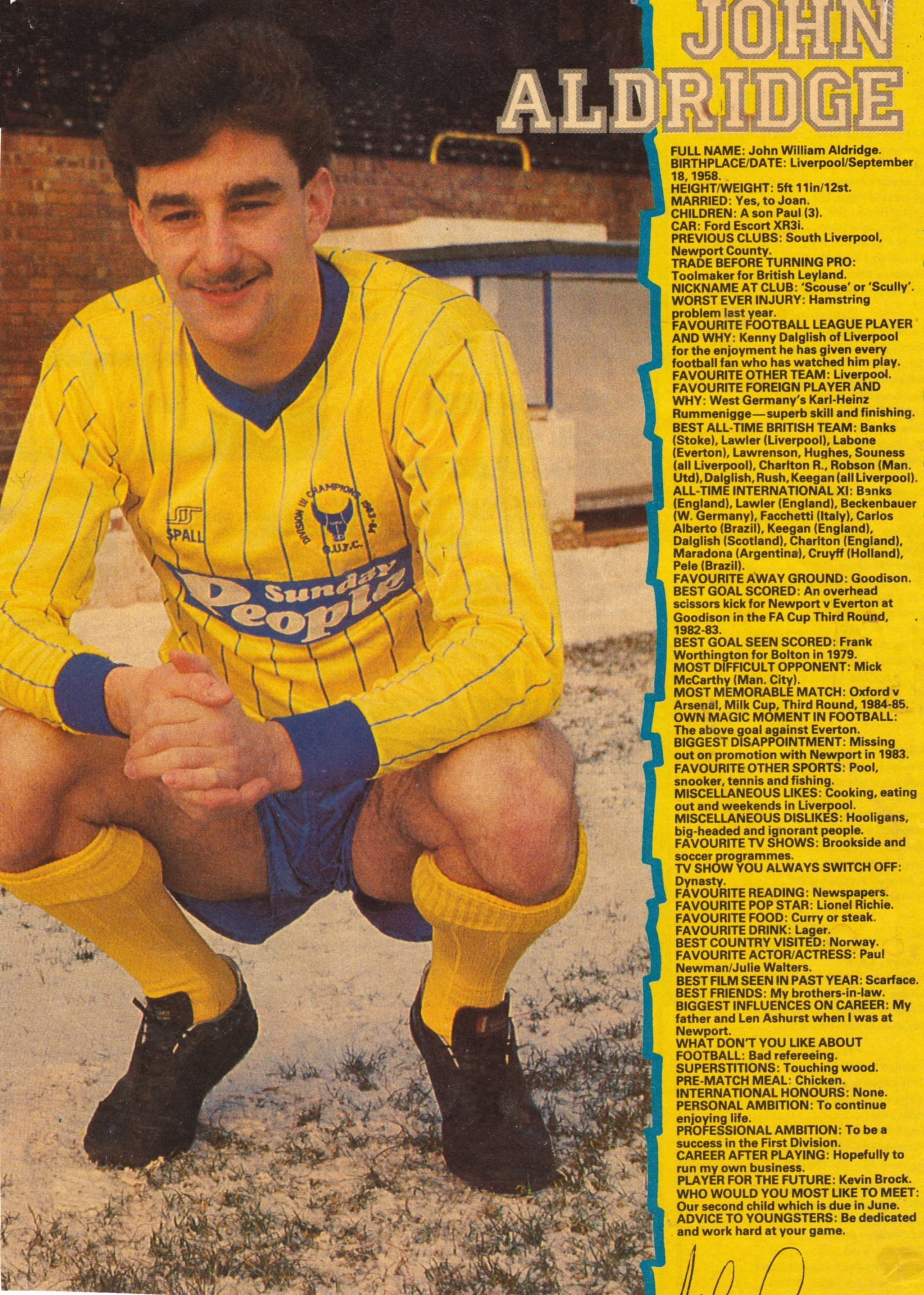 Shoot! Focus on John Aldridge at Oxford