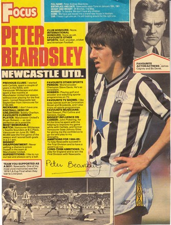Shoot! Focus on Peter Beardsley at Newcastle