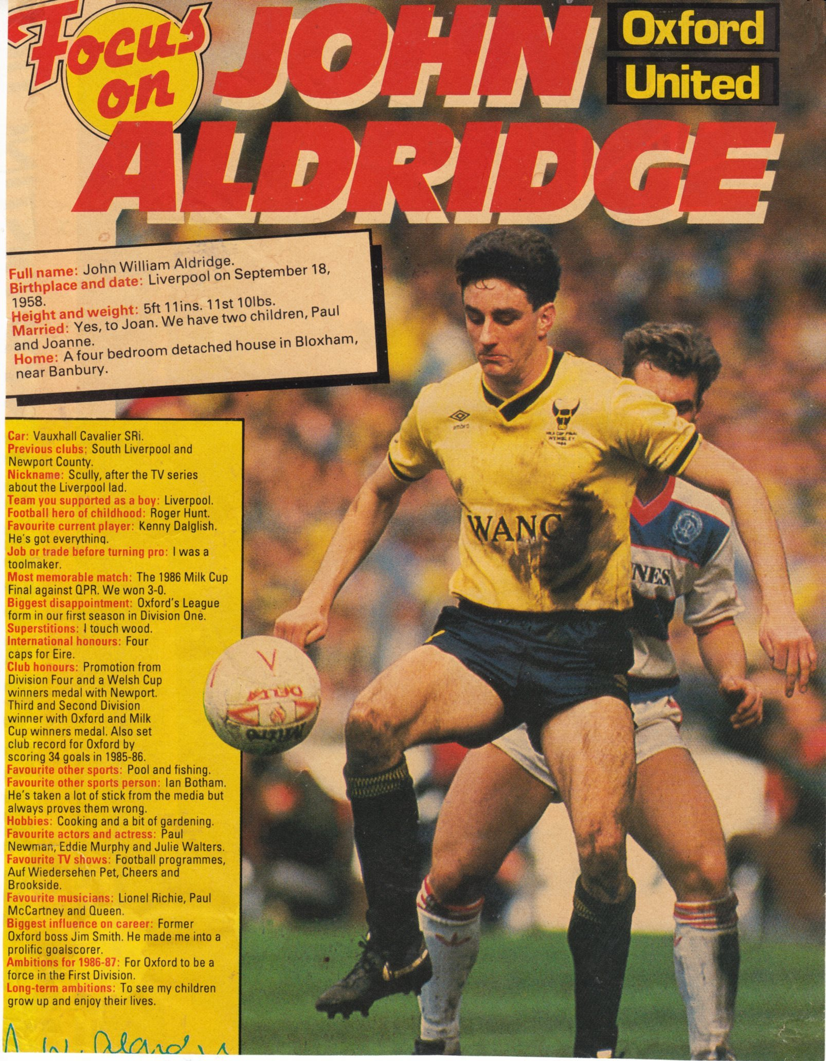 Another Focus on Oxford's John Aldridge