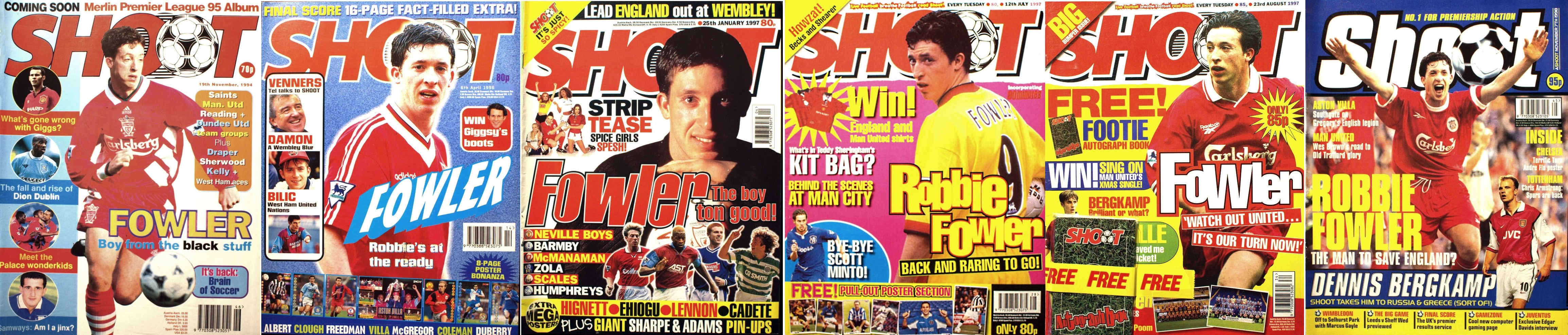 Robbie Fowler on the cover of Shoot! 1995-1998