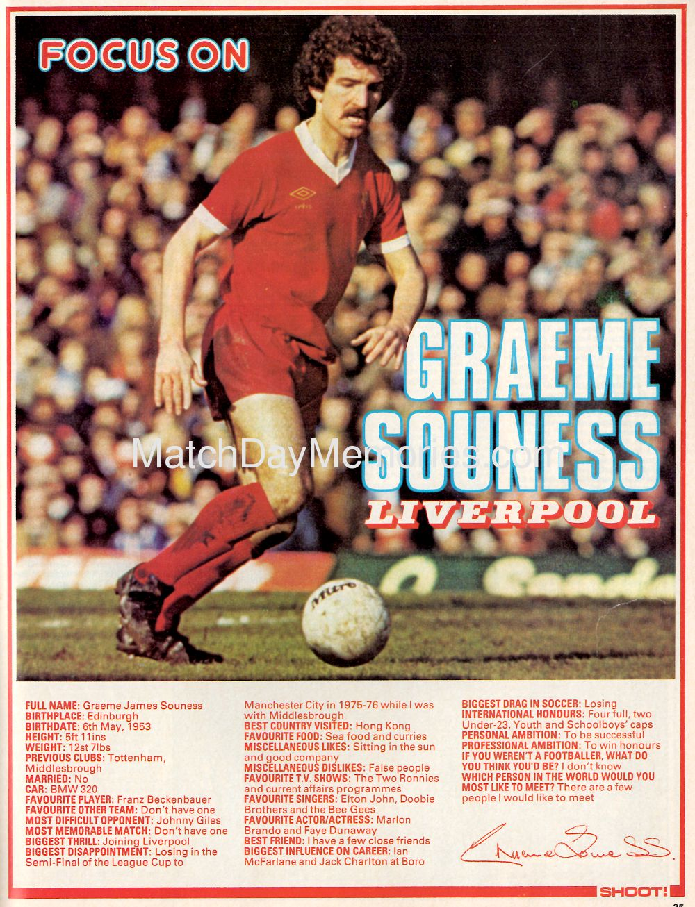 Liverpool career stats for Graeme Souness - LFChistory