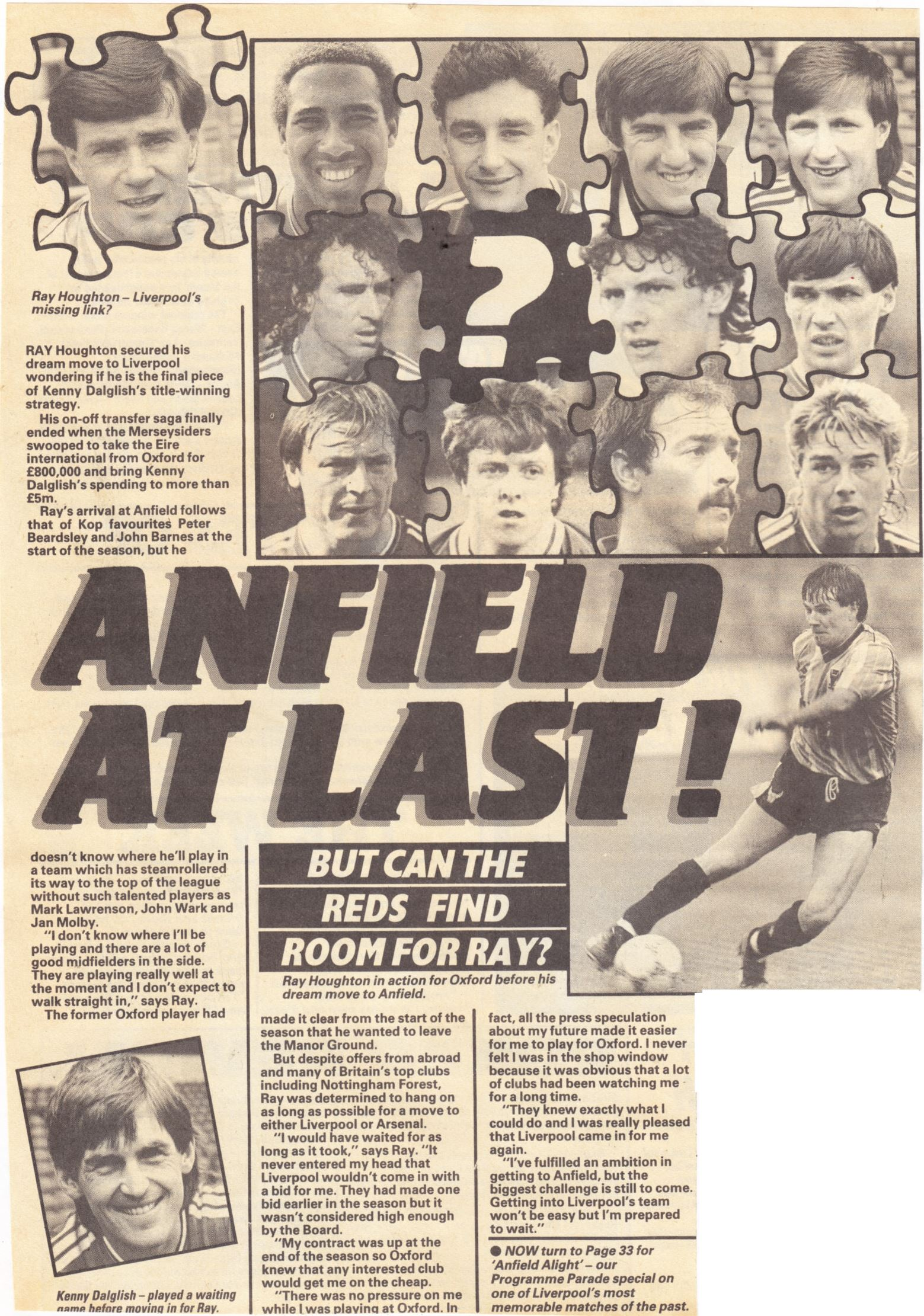 Houghton at Anfield at last! - October 1987